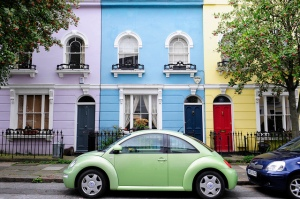 I want to live on this street in a colouful house like these please!